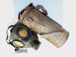 MASQUE à GAZ ALLEMAND WW.2 + BOITE Avec SANGLES + ETUI CAPE - DIRECT GRENIER - Neutralisé - Equipement