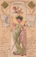 CPA  Représentation JANVIER - Signe Astrologique Verseau - Fantaisie Femme - Ange - 1901 - Astrologie