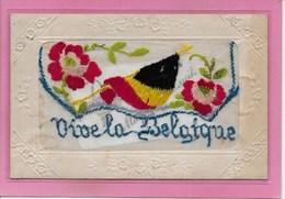FANTASIE: BORDUURWERK-OORLOG 1914-18- VIVE LA BELGIQUE - Brodées