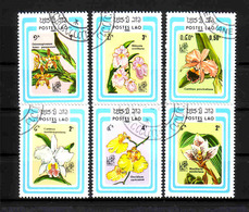 500a * LAOS * 6 AUSGABEN ORCHIDEEN * GESTEMPELT **!! - Orchideen