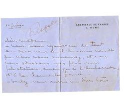 Maurice Delarue Caron De Beaumarchais FRENCH AMBASSADOR IN ROME AUTOGRAPH 1930s - Autographes