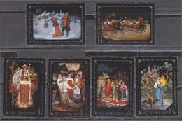 USSR 1977 Fedoskino Village Decorative Art Traditional Painting Ethnography Handicraft Culture MNH Mi.4581-4586** - 1923-1991 USSR