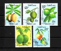 498a * LAOS * 5 AUSGABEN FRÜCHTE * GESTEMPELT **!! - Obst & Früchte