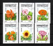 497a * KAMPUCHEA * 6 AUSGABEN BLUMEN * GESTEMPELT **!! - Pflanzen Und Botanik