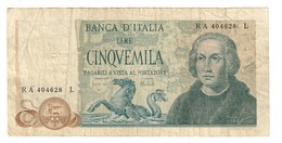 Italy 5000 Lire Colombo Type 2 11/04/1973 - [ 2] 1946-… : Républic
