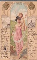 CPA  Représentation MARS - Signe Astrologique Bélier - Fantaisie Femme - Ange - 1901 - Astrologie