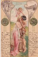 CPA  Représentation JUIN - Signe Astrologique Cancer - Fantaisie Couple + Ange - 1901 - Astrologie