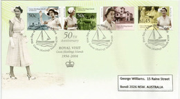 Visite Royale Reine Elisabeth II Aux îles COCOS  1954-2004, Série Nr 397/400   FDC Avec Hautes Faciales - Cocos (Keeling) Islands