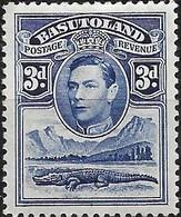 BASUTOLAND 1938 King George VI - Nile Crocodile & Mountains - 3d - Blue MH - Basutoland (1933-1966)
