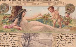 CPA  Représentation JUILLET - Signe Astrologique Lion - Fantaisie Femme + Ange - 1901 - Astrologie