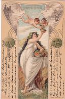 CPA  Représentation OCTOBRE- Signe Astrologique Scorpion - Fantaisie Femme + Anges - 1901 - Astrologie