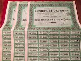 Cie  Générale  De  LUMIÈRE  Et  D' ÉNERGIE ------Lot  De  Trois  Actions  De  500 Frs - Electricité & Gaz