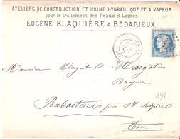 Hérault :- BEDARIEUX G.C.412 Dateur Type 17 En Tete E.BLAQUIERE ATELIERS DE CONSTRUCTION - Postmark Collection (Covers)