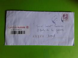 Lettre Suivie Avec Timbre Autocollant Marianne De Ciappa Kawena Rose Obl ,  2018, TB - Postmark Collection (Covers)