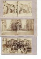 Lot De 9 Photos Stéréo De La Révolution De Palerme (Sicile)en Juin 1860- Bombes , Incendies Et Barricades - Photos Stéréoscopiques