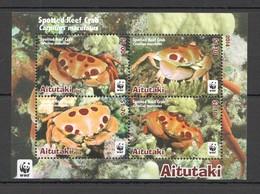 W763 2014 AITUTAKI WWF FAUNA FISH & MARINE LIFE SPOTTED REEF CRABS !!! MICHEL 11,5 EURO !!! 1KB MNH - W.W.F.
