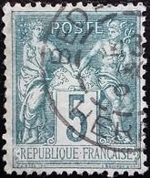 FRANCE 1876 Y&T N°75 Sage 5c Vert. Oblitéré - 1876-1898 Sage (Type II)