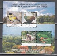 India 2012,4V In Block,birds,vogels,vögel,oiseaux,pajaros,uccelli,aves,monkey,aap,frog,kikker,MNH/Postfris(L3415) - Vogels