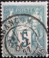 FRANCE 1876 Y&T N°75 Sage 5c Vert. Oblitéré Besançon - 1876-1898 Sage (Type II)