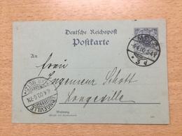 K6 Deutsches Reich Ganzsache Stationery Entier Postal P 40IIAb Von Metz Nach Longeville Bei Metz Ortstarif!!! - Deutschland