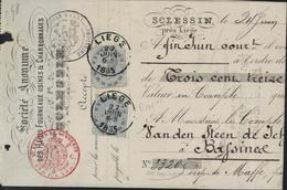 Traite SA Hauts Fourneaux Usines Charbonnages Sclessin Timbres Fiscaux Lion Extraordinaire +YT 39 X2 Comme Taxe 1885 - Timbres