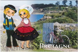 CARTE BRODEE: BRETAGNE,LA BICYCLETTE - Brodées