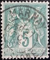 FRANCE Y&T N°75 Sage 5c Vert. Oblitéré Marnay - 1876-1898 Sage (Type II)