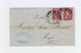 Sur Pli Avec Correspondance Paire De 10 P. Rose Carmin Oblitérés CAD Fer à Cheval Colmar 1877. (952) - Allemagne