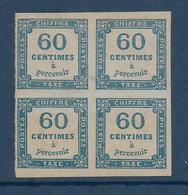1871 - TAXE YVERT N° 9 BLOC De 4  * TRES BEAU D'ASPECT MAIS 3 PLIS VERTICAUX + 1 PLI D'ANGLE - COTE = 500 EUR. - - Segnatasse