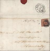 YT N°8 Sur Lettre 1 Côté Court Oblitération 3 Cercles Concentriques 2 Dos Arrivée Kdopa Hamburg 19 10 6-7M 1862 - 1851-63 (Frederik VII)