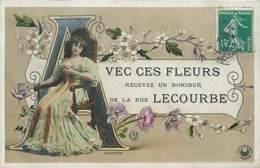 CPA 75 Paris 75015 Avec Ces Fleurs Recevez Un Bonjour De La Rue LECOURBE Phot. P. Boyer Croissant 1910 Illustration - Arrondissement: 15