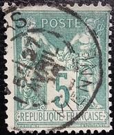 FRANCE Y&T N°75 Sage 5c Vert. Oblitéré Vienne - 1876-1898 Sage (Type II)