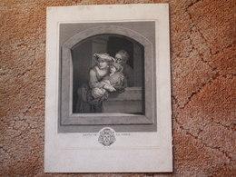GRANDE  Gravure 27,5 X 37,5 //  Repos De La Vierge- Peint Par Dietricy  - Gravé Par Wille Graveur Du Roi - Religione & Esoterismo
