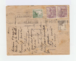 Sur Enveloppe Ouverte Censure Paire Franco Et Deux Timbres Le Cid CAD Madrid 1940. Slogans Nationalistes. (954) - Marques De Censures Nationalistes