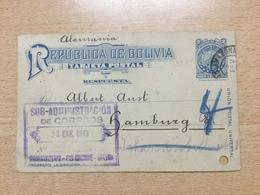 FL3698 Bolivien Ganzsache Stationery Entier Postal  Karte Von Amazonas über Porto Velho Nach Hamburg - Bolivien
