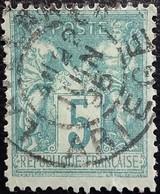 FRANCE Y&T N°75 Sage 5c Vert. Oblitéré Ariège - 1876-1898 Sage (Type II)
