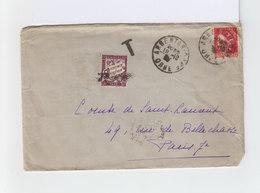 Sur Enveloppe Type Paix 50 C. Rose Rouge CAD Argentan 1935 Et Timbre Taxe 50 C. Lilas. Cachet T Taxe. (955) - 1921-1960: Période Moderne