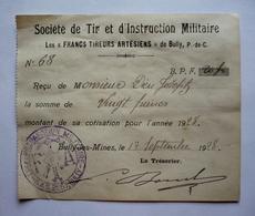 """62 - BULLY - RECU Cotisation 1928 - """" Les Francs Tireurs Artésiens""""- SOCIETE DE TIR ET D'INSTRUCTION MILITAIRE - Documents"""
