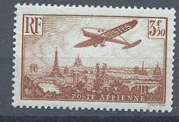 """FR Aerien YT 13 (PA) """" Avion Survolant Paris 3F50 Brun-jaune """" 1936 Neuf* - 1927-1959 Mint/hinged"""