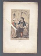Morbihan -  Guémené - Coiffes Et Costumes - Lithographie Ernest Bourdin, Circa 1860 - Estampes & Gravures