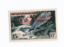 VP6L9 TAAF FSAT Neufs ** MNH Faune Surchargé De Madagascar 15 F N°1 - Terres Australes Et Antarctiques Françaises (TAAF)