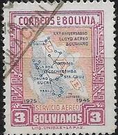BOLIVIA 1945 Lloyd-Aereo Boliviano Air Routes - 3b - Blue, Orange & Red FU - Bolivie