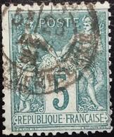 FRANCE Y&T N°75 Sage 5c Vert. Oblitéré - 1876-1898 Sage (Type II)