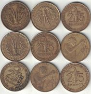 West African States Collection Of 9x 25 Franc Coins 1956-2010 All Listed & Different - Monnaies