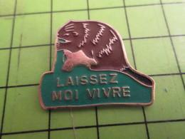 713L Pins Pin's / Rare & De Belle Qualité  THEME : ANIMAUX / LAISSEZ MOI VIVRE CASTOR Sans Pollux - Animals