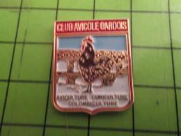 713M Pins Pin's / Rare & De Belle Qualité  THEME : ANIMAUX / COQ VOLAILLE CLUB AVICOLE GARDOIS CUNICULTURE COLOMBICULTU - Animals