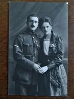 Antieke Foto  Met Hoog   Geplaatste Militair - Couples