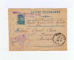 Lettre Télégramme AC 1917 De L'hôpital Bénévole De Hyères. Cachet Hôpital Militaire Et CAD Hyères. (959) - Marcophilie (Lettres)
