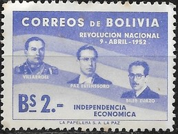 BOLIVIA 1953 1st Anniv Of Revolution - 2b Villarroel, Paz Estenssoro And Siles Zuazo MH - Bolivie