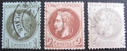R1692/421 - NAPOLEON III Lauré - N°25 CàD + N°26 CàD + N°27 GC 2654 : NEVERS (Nièvre) - Cote : 165,00 € - 1863-1870 Napoleon III With Laurels
